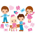 Valentines Day Kids Set vector image