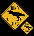 DINO XING SCARED HUMAN vector image