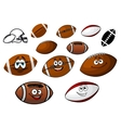 Cartoon footballs and rugby balls characters vector image