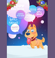 dog on wither holidays card happy new year 2018 vector image