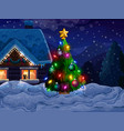 house with christmas tree and snow vector image