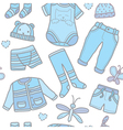 Seamless pattern baby boy clothes vector image