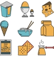 Set of colorful food icons vector image