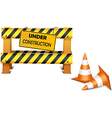 Under construction barrier over white background vector image