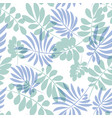 tender pale blue and green tropical leaves vector image
