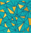 turquoise blue and gold foil geometric vector image vector image