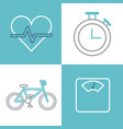 healthy lifestyle related icons image vector image