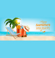 tropical island with palms a beach chair and a vector image vector image