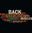 Exercise can help relieve lower back pain text vector image