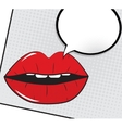 Open Red Lips with Speech Bubble Pop Art vector image
