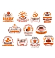 Bakery pastry and cake shop symbols retro style vector image vector image