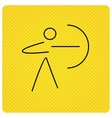 Archery sport icon Archer with longbow sign vector image
