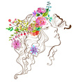 Beautiful woman with butterfly and flowersdoodle w vector image