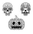 Hand drawn Skulls and Pumpkin in zentangle style vector image