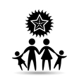 silhouette family vacation starfish sea marine vector image