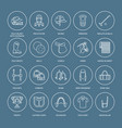 horse polo flat line icons of vector image vector image