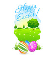 Easter Card with Landscape and Decorated Eggs vector image vector image