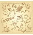 Coffee break doodles background vector image vector image