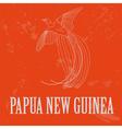 Papua New Guinea Paradise bird Retro styled image vector image