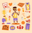 basketball stickers icons character vector image