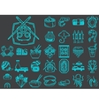 collection of 30 line icons for asian food vector image