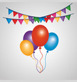 decorative bunch balloons and colored garlands vector image