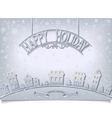 Holiday postcard with silver signboard greeting vector image