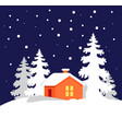 orange house in snowy forest vector image