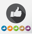 thumb up applique icons set flat style vector image