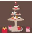 Cup cake sweet bakery birthday present dessert vector image