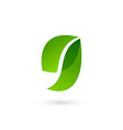 Letter G number 9 eco leaves logo icon design vector image