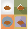 wooden board flat icons 14 vector image