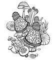 coloring book page with mushrooms vector image vector image