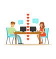 young man and woman in love chatting sitting in vector image