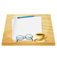 A table with empty pieces of papers vector image vector image