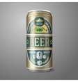 Golden beer can with label isolated on gray vector image