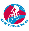 cyclist riding racing bike vector image