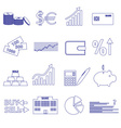 financial and money blue outline icons set eps10 vector image