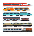 railroad passenger trains and carriages flat vector image