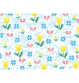 spring flowers on a background with pixels vector image