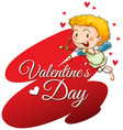 velentine card template with cute cupid vector image