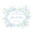floral wedding label vector image vector image