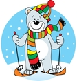 small polar bear on skis and wearing a scarf vector image