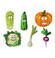 Happy colorful fresh cartoon vegetables vector image