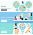 Manicure Pedicure Tools 3 Flat Banners vector image