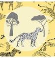 Leopard between savanna trees vector image