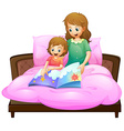 Mother telling bedtime story to kid in bed vector image vector image