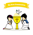 first communion boy and girl vector image