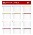 Calendar 2014 English Type 8 vector image