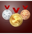 Golden Silver and Bronze medal set with vector image
